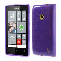 Gélové kartáčové puzdro na Nokia Lumia 520- fialové - 1/5