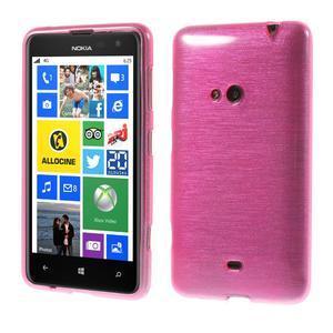 Gélové kartáčové puzdro na Nokia Lumia 625 - ružové - 1
