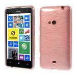 Gélové kartáčové puzdro na Nokia Lumia 625 - svetleružové - 1/5