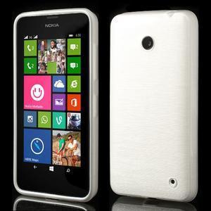 Gélové Kartáčové puzdro na Nokia Lumia 630- biele - 1