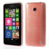 Gélové Kartáčové puzdro na Nokia Lumia 630- svetleružové - 1/5