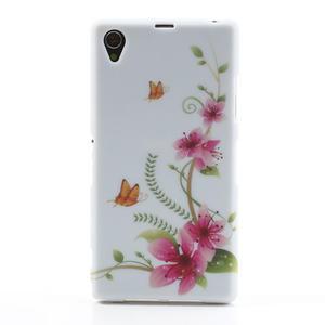 Gelové pouzdro na Sony Xperia Z1 C6903 L39- květy a motýl - 1