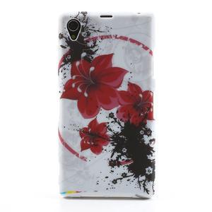 Gélové puzdro pre Sony Xperia Z1 C6903 L39- červený kvet - 1