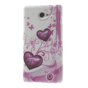 Gélové puzdro na Sony Xperia M2 D2302 - dvě srdce - 1