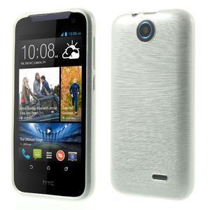 Gélové kartáčované puzdro na HTC Desire 310- biele - 1