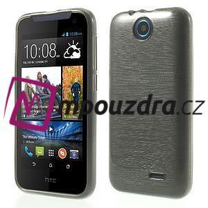 Gélové kartáčované puzdro na HTC Desire 310- šedé - 1