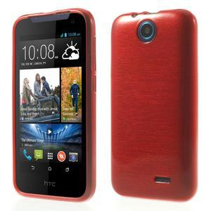 Gélové kartáčované puzdro na HTC Desire 310- červené - 1