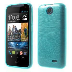 Gélové kartáčované puzdro na HTC Desire 310- modré - 1
