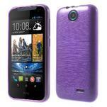 Gélové kartáčované puzdro na HTC Desire 310- fialové - 1/6