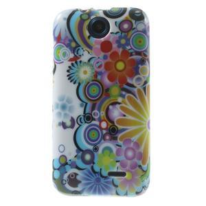 Gélové puzdro na HTC Desire 310- farebné květy - 1