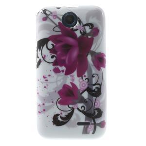 Gélové puzdro pre HTC Desire 310- fialový kvet - 1