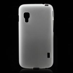 Matné gélové puzdro pre LG Optimus L5 Dual E455- biele - 1