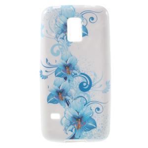 Gelové pouzdro na Samsung Galaxy S5 mini G-800- modrá lilie - 1