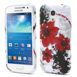 Gelové pouzdro pro Samsung Galaxy S4 mini i9190- červený květ - 1