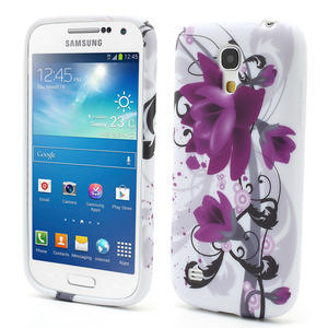 Gélové puzdro pro Samsung Galaxy S4 mini i9190- fialové kvety - 1