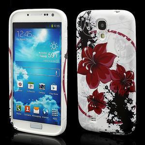 Gelové pouzdro pro Samsung Galaxy S4 i9500- červený květ - 1