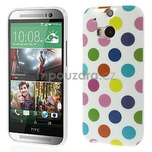 Gélové-PUNTÍKY puzdro pre HTC one M8- bílofarebné - 1