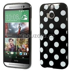 Gélové-PUNTÍKY puzdro pre HTC one M8- biele - 1