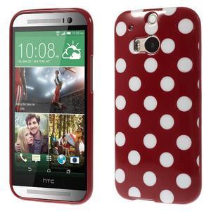 Gélové-PUNTÍKY puzdro pre HTC one M8- červené - 1
