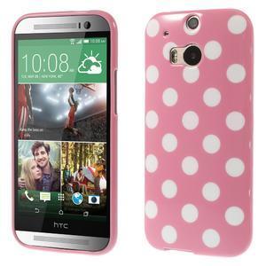 Gélové-PUNTÍKY puzdro pre HTC one M8- růžové - 1