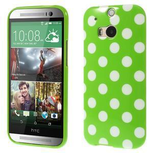 Gélové-PUNTÍKY puzdro pre HTC one M8- zelené - 1