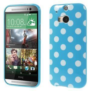 Gélové-PUNTÍKY puzdro pre HTC one M8- modré - 1
