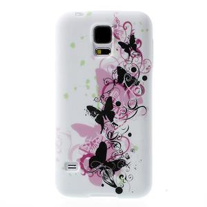 Gelové pouzdro na Samsung Galaxy S5- motýl květina - 1