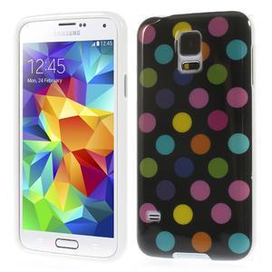Gelové puntíkaté pouzdro na Samsung Galaxy S5- černobarevné - 1
