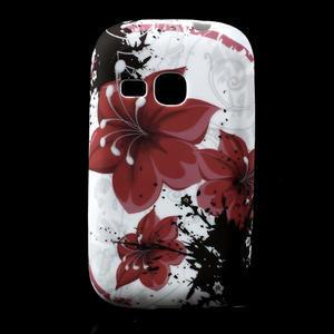 Gélové puzdro pre Samsung Galaxy Young S6310- červený kvet - 1