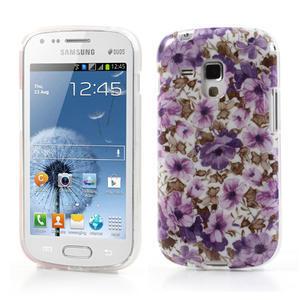 Gélové puzdro pre Samsung Galaxy Trend, Duos- fialové kvety - 1