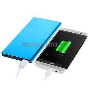 Luxusná kovová externá nabíjačka power bank 12 000 mAh - modrá - 1
