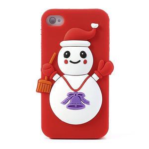 Silikonové puzdro na iPhone 4 4S - sněhulák - 1