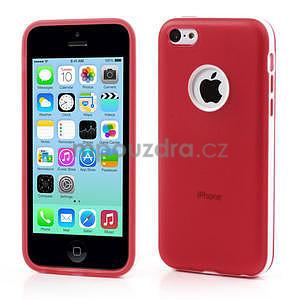 Gélové rámové puzdro pre iPhone 5C- červené - 1