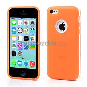 Gélové rámové puzdro pre iPhone 5C- oranžové - 1