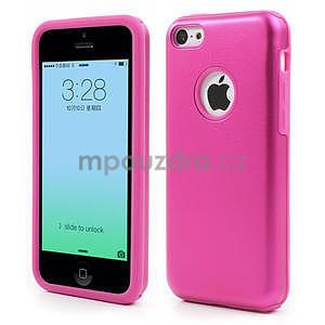 Gélové metalické puzdro pre iPhone 5C- růžové - 1
