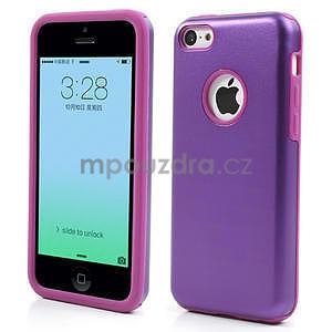 Gélové metalické puzdro pre iPhone 5C- fialové - 1