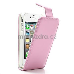 Flipové puzdro pre iPhone 4, 4s- svetleružové - 1