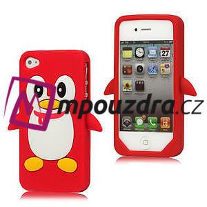 silikónový Tučniak na iPhone 4 4S - červený - 1