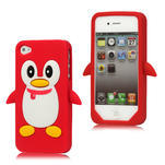 silikónový Tučniak na iPhone 4 4S - červený - 1/3