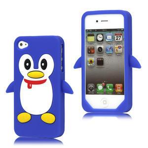Silikonový Tučňák na iPhone 4 4S - modrý - 1