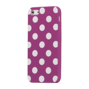 Gélové PUNTÍK puzdro pre iPhone 5, 5s- fialový - 1