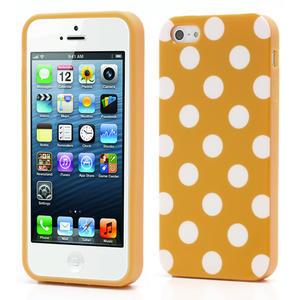 Gélové PUNTÍK puzdro pre iPhone 5, 5s- oranžové - 1