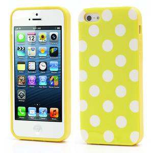 Gélové PUNTÍK puzdro pre iPhone 5, 5s- žlté - 1