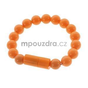 Korálkový náramek micro USB, oranžový - 1