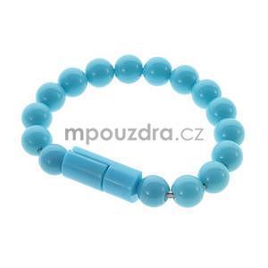Korálkový náramek micro USB, světle modrý - 1