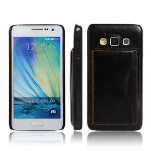 Kožený/plastový kryt so stojanom pre Samsung Galaxy A3 - čierny - 1