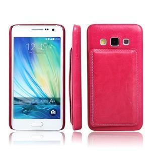 Kožený/plastový kryt so stojanom pre Samsung Galaxy A3    - rose - 1