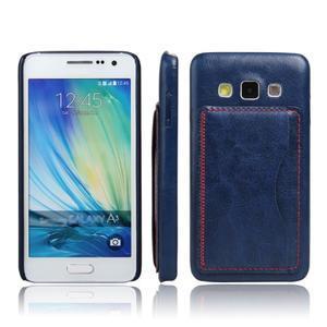 Kožený/plastový kryt se stojánkem na Samsung Galaxy A3 - modrý - 1