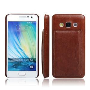 Kožený/plastový kryt se stojánkem na Samsung Galaxy A3 - hnědý - 1
