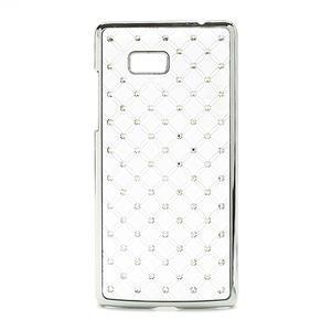 Drahokamové puzdro pre HTC Desire 600- biele - 1